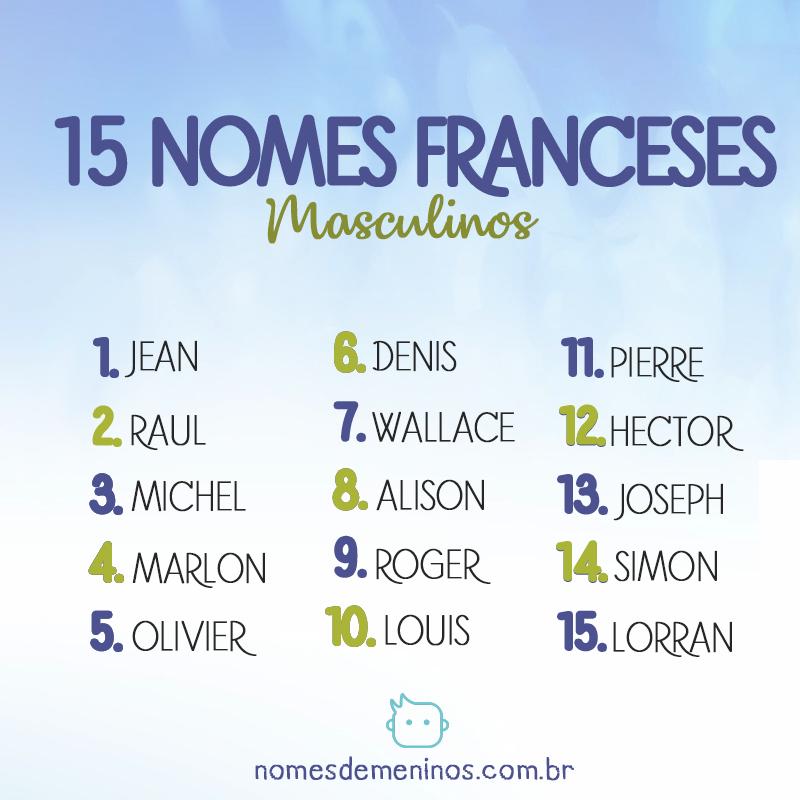15 nomes franceses masculinos